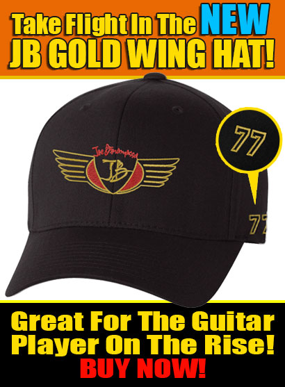 New JB Gold Wing Hat! Great For Guitar Players On The Rise! Click here to buy now!